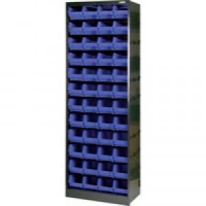 Metal Bin Cupboard with 48 Polypropylene Bins Dark Grey/Black 371835