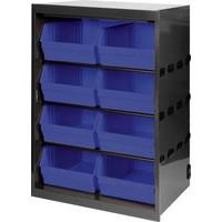 Metal Bin Cupboard with 8 Polypropylene Bins Dark Grey/Black 371837