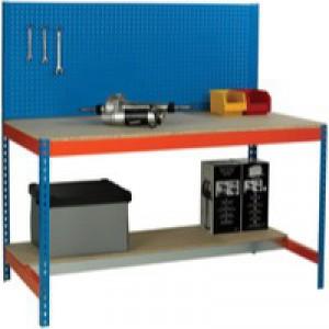 Workbench with Backboard 1200x750mm Blue/Orange 375517
