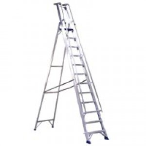 Alumiunium Step Ladder with Platform 10 Steps 377860
