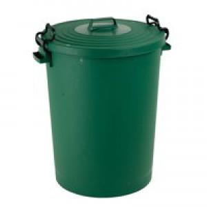 Light Duty Dustbin with Lid 110 Litre Green 382068