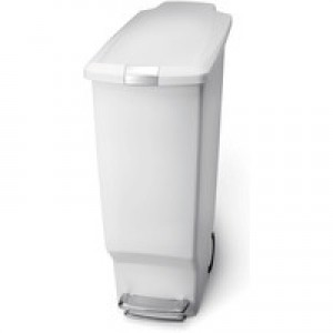 Slim Plastic Pedal Bin 40 Litre White 382649