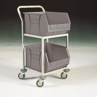 Mobile  Storage Trolley c/w 2 Bins Grey 383414