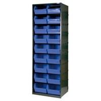 Metal Bin Cupboard with 18 Polypropylene Bins Dark Grey/Black 371832