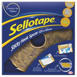 Sellotape Sticky Hook Spots in Handy Dispenser of 125 Spots Diameter 22mm Yellow Ref 1445185