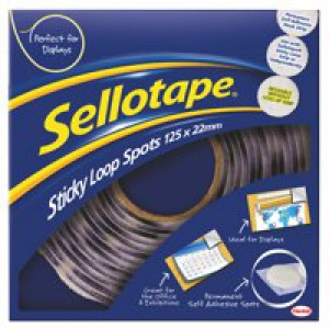Sellotape Sticky Loop Spots in Handy Dispenser of 125 Spots Diameter 22mm White Code 783884