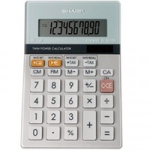 Sharp Semi-Desktop Calculator 10-digit Silver EL-331ER