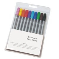 Image for Assorted Colour Duo Nib Felt Pens (Pk 10) 59489