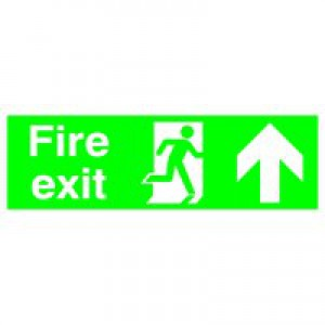 Safety Sign Fire Exit Running Man Arrow Up 150x450mm PVC FX04711R