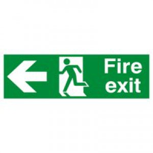 Safety Sign Fire Exit Running Man Arrow Left 150x450mm PVC FX04311R