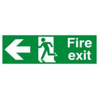 Safety Sign Fire Exit Running Man Arrow Left 150x450mm PVC FX04311R