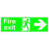 Niteglo Fire Exit/Arrow Right Sign PSPA-certified Polypropylene 150x450mm Code FX04411M