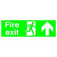 Niteglo Fire Exit Sign Man and Arrow Straight Up 450x150mm Polypropylene Ref FX04711M