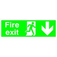 Niteglo Fire Exit/Arrow Down Sign PSPA-certified Polypropylene 150x450mm Code SP124PLP