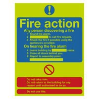 Safety Sign Niteglo Fire Action Stand 300x250mm PVC FR03527M
