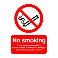 Image for No Smoking Vehicle 100x75mm Slf-Adh Sign