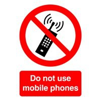Safety Sign - Do Not Use Mobile Phones - A5 Self-Adhesive Vinyl