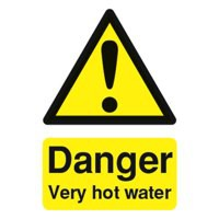 Safety Sign Danger Very Hot Water 75x50mm PVC Code HA17343R