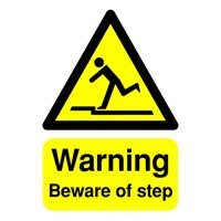 Safety Sign - Warning Beware Of Step - A5 Rigid Polypropylene