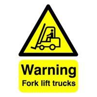 Safety Sign Warning Fork Lift Trucks A5 Self-Adhesive Code HA23851S