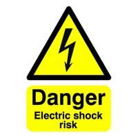 Safety Sign Danger Electric Shock Risk A5 PVC Code HA10751R
