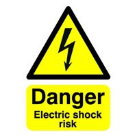Safety Sign Danger Electric Shock Risk A5 Self-Adhesive Code HA10751S