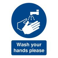 Safety Sign Wash Your Hands Please A5 PVC Code MD05851R