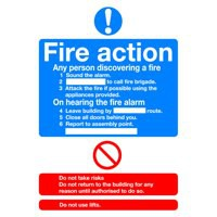 Safety Sign Fire Action Standard A5 PVC FR03551R
