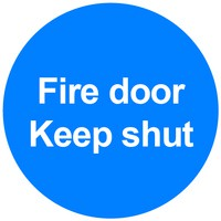 Safety Sign - Fire Door Keep Shut - 100x100mm Rigid Polypropylene