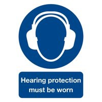 Safety Sign Hearing Protection Must be Worn A4 PVC MA01950R