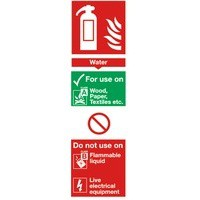 Safety Sign Fire Extinguisher Water 280x90mm Self Adhesive Code F200/S