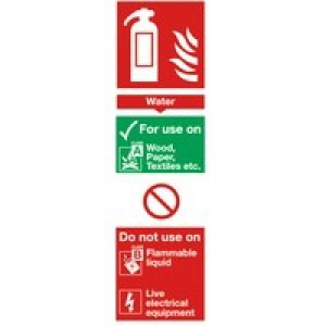 Safety Sign Fire Extinguisher Water 280x90mm PVC F100/R