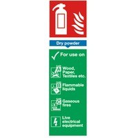 Safety Sign Fire Extinguisher Dry Powder 280x90mm PVC Code F101/R