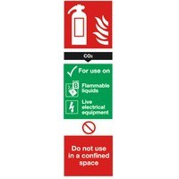 Safety Sign Carbon Dioxide Fire Extinguisher 280x90mm Self Adhesive Code F203/S