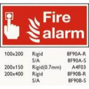 Safety Sign Fire Alarm 100x200mm Self-Adhesive F90A/S