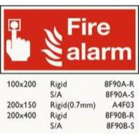 Safety Sign Fire Alarm 100x200mm Self Adhesive Code F90A/S