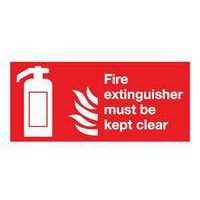 Safety Sign Fire Extinguisher Must Be Kept Clear 100x200mm Self-Adhesive F79A/S