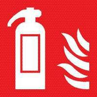 Safety Sign Fire Extinguisher Symbol 100x100mm Self Adhesive Code KF44A/S