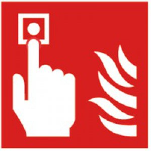 Safety Sign Fire Alarm 100x100mm Self-Adhesive KF68B/S