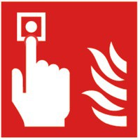 Safety Sign Fire Alarm 100x100mm Self Adhesive Code KF68B/S
