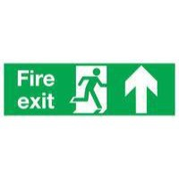 Safety Sign Fire Exit Up 150x450mm Self-Adhesive EB09A/S