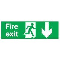 Safety Sign Fire Exit Running Man Arrow Down 150x450mm Self Adhesive Code E100A/S