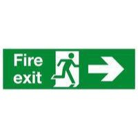 Safety Sign Fire Exit Running Man Arrow Right 150x450mm Self Adhesive Code E99A/S