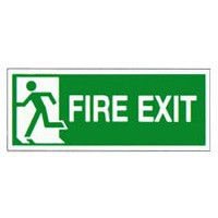 Safety Sign Fire Exit Running Man Left 150x300mm Self Adhesive Code E96A/S