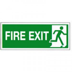 Safety Sign Fire Exit Running Man Right 150x300mm Self-Adhesive E98A/S