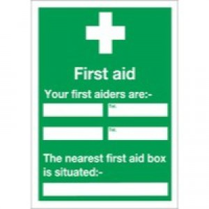 Safety Sign First Aid /Your First Aiders Are/Nearest First Aid Box 600x450mm Self-Adhesive E91A/S
