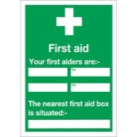 Safety Sign First Aid /Your First Aiders Are/Nearest First Aid Box 600x450mm Self Adhesive E91A/S