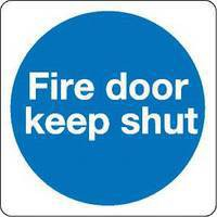 Safety Sign Fire Door Keep Shut 100x100mm Self Adhesive Code KM14AS