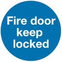 Safety Sign Fire Door Keep Locked 100x100mm Self Adhesive Code KM72A/S