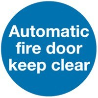 Safety Sign Automatic Fire Door 100x100mm Self Adhesive Code KM73AS